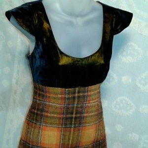 Betsey Johnson velvet plaid wool dress cap sleeves